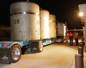 This March 26, 1999 file photo shows the first load of radioactive waste arriving at the Waste Isolation Pilot Plant (WIPP) near Carlsbad, NM, from the Los Alamos National Labs.