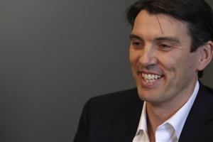 In this Friday, April 22 2011 photo, AOL CEO Tim Armstrong speaks during an interview with The Associated Press at AOL headquarters in New York.