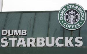 The sign at the now-closed Dumb Starbucks coffee in Los Angeles.