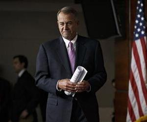 House Speaker John Boehner of Ohio arrives for a news conference on Capitol Hill, Feb. 6, 2014.