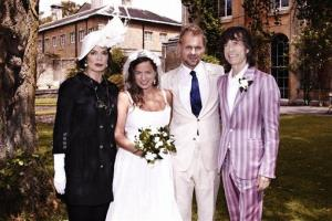 This photo dated June 30, 2012 shows Jade Jagger, 2nd left, at her wedding to Adrian Fillary, 2nd right, with her parents Bianca Jagger and Mick Jagger at Aynhoe Park, Banbury, England, June 30, 2012.