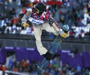 Shaun White of the US competes during the men's snowboard halfpipe qualifying session.