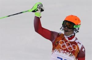 Switzerland's Sandro Viletta celebrates after finishing the slalom portion of the men's supercombined at the Sochi 2014 Winter Olympics, Friday, Feb. 14, 2014, in Krasnaya Polyana, Russia.
