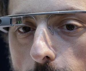 Google co-founder Sergey Brin wears a Google Glass device in San Francisco in this Feb 20, 2013 file photo.