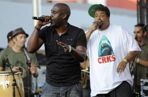 Posdnuos, left, and Dave of hip hop group De La Soul perform at the Sunset Strip Music Festival in West Hollywood in 2012.