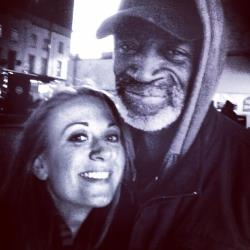 Jenny Baker and Michael, a homeless man she befriended and helped.