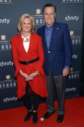 Ann and Mitt Romney arrive at the third annual NFL Honors at Radio City Music Hall on Saturday, Feb. 1, 2014, in New York.