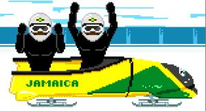 A screen capture from the video for The Bobsled Song.