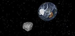 This image provided by NASA/JPL-Caltech shows a simulation of an asteroid approaching from the south.