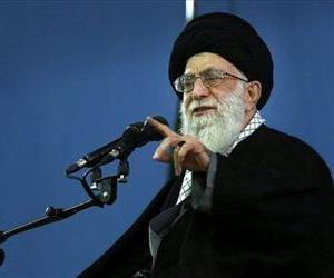 In this picture released by an official website of the office of the Iranian supreme leader, Supreme Leader Ayatollah Ali Khamenei delivers a speech, in Tehran, Iran, Feb. 17, 2014.