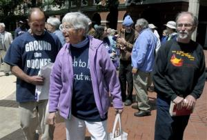 In this Monday, May 6, 2013, file photo, anti-nuclear weapons activists, from left, Michael Walli, Sister Megan Rice and Greg Boertje-Obed arrive for their trial in Knoxville, Tenn.