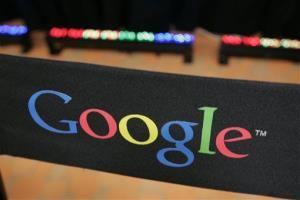 This Sept. 2, 2008 file photo shows the Google logo on a chair at the company's headquarters in in Mountain View, Calif.