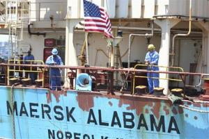 Crew members work aboard the US-flagged Maersk Alabama.