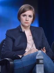 Lena Dunham during the 'Girls' panel discussion at the 2014 Winter Television Critics Association tour in Pasadena.