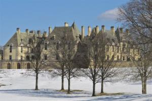 Snow covers the grounds of the Oheka Castle in Huntington, N.Y.