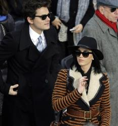 John Mayer and Katy Perry arrives for the ceremonial swearing-in of President Barack Obama at the US Capitol during the 57th Presidential Inauguration in Washington, Monday, Jan. 21, 2013.
