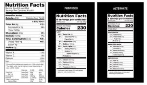 This handout image provide by the Food and Drug Administration (FDA) shows, from left, a current food nutrition label, a proposed label and an alternate label.