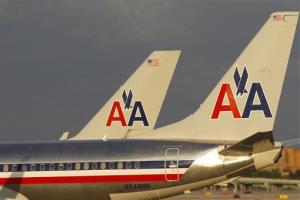 American Airlines jets taxi at Miami International Airport.