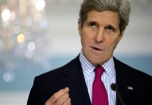 Secretary of State John Kerry gestures as he speaks during a news conference at the State Department in Washington, Friday, Feb. 28, 2014.