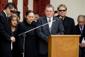 Maori King Tuheitia, center, is surrounded by family after making his speech during celebrations for the first anniversary of his coronation at Turangawaewae Marae in Ngaruawahia, New Zealand, Tuesday, Aug. 21, 2007.