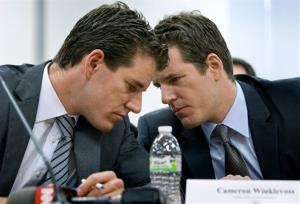 Cameron, left, and Tyler Winklevoss in a Jan. 28, 2014, photo.