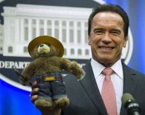 Former California Gov. Arnold Schwarzenegger holds the Smokey the Bear stuffed toy presented to him by the US Forest Service during a ceremony at the Agriculture Department in Washington, Oct. 30, 2013.