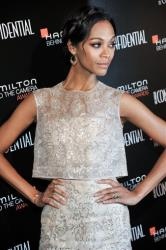 Zoe Saldana arrives at the 7th Annual Hamilton Behind the Camera Awards at the Ebell Theatre on Sunday, Nov. 10, 2013, in Los Angeles.