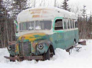 The abandoned bus where Christopher McCandless was found in 1992.