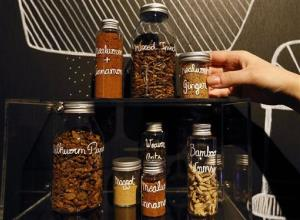 Dried insects and insect spices are displayed at the Wellcome Collection in London, Tuesday, April 23, 2013.