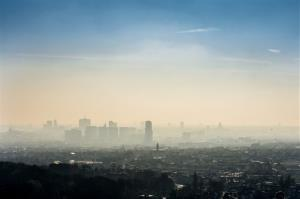 A layer of smog covers the city of Brussels, Belgium, on Friday.