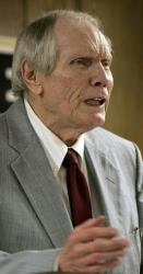 In a March 19, 2006 file photo, Pastor Fred Phelps preaches at his Westboro Baptist Church in Topeka, Kan.