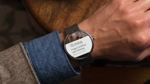 The Moto 360 smartwatch, one of the first Android Wear devices unveiled.
