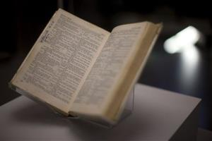 A copy of the Complete Works of Shakespeare is displayed during the press view of the Shakespeare: staging the world exhibition at the British Museum in London, Wednesday, July 18, 2012.