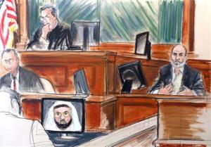 In this courtroom sketch, Osama bin Laden's son-in-law, Sulaiman Abu Ghaith, right, testifies at his trial in New York.