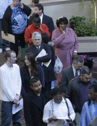 Job seekers line up to meet prospective employers at a career fair at a hotel in Dallas earlier this year.