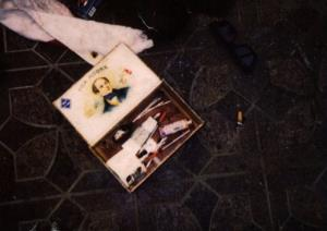 This April 1994 photo provided by the Seattle Police Department shows items found at the scene of Kurt Cobain's suicide, in Seattle. The image has never before been released.