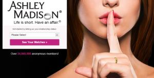 A screenshot for cheater site Ashley Madison.