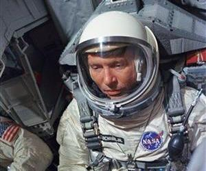 This photo, provided by NASA, shows Astronaut Walter M. Wally Schirra Jr. seated in the Gemini 6 spacecraft during training at an unknown location, in this Dec. 8, 1965 file photo.
