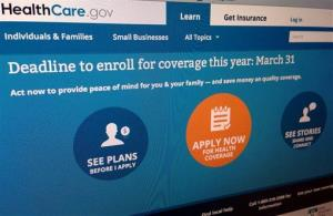 Part of the website for HealthCare.gov.