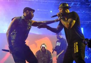 This April 21, 2013 photo shows Robert Fitzgerald Diggs, aka RZA, left, and Clifford Smith, aka Method Man, of Wu-Tang Clan performing at the Coachella Valley Music and Arts Festival in Indio, Calif.