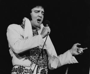 Elvis Presley is shown performing in Providence, RI, on May 23, 1977, three months before his death.