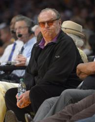 Actor Jack Nicholson watches the Los Angeles Lakers play the San Antonio Spurs in Game 4 of a first-round NBA basketball playoff series, Sunday, April 28, 2013, in Los Angeles.