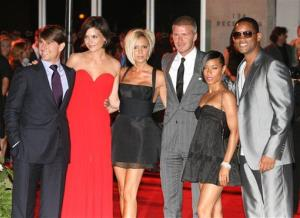 Tom Cruise, Katie Holmes, Victoria Beckham, David Beckham, Jada Pinkett Smith and Will Smith pose at a party at the Museum of Contemporary Art, Sunday, July 22, 2007, in Los Angeles.