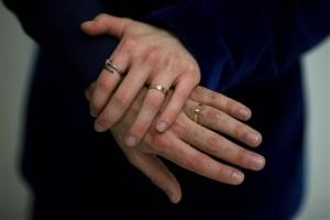 The wedding rings of Sean Adl-Tabatabai and Sinclair Treadway.