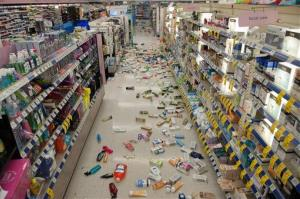 Merchandise is strewn across the floor in a La Habra Walgreens following Friday night's 5.1 earthquake.