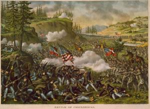 A depiction of the Battle of Chickamauga, 1863.