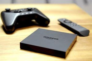 Amazon Fire TV is unveiled during a press conference in New York Wednesday.