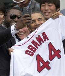 Boston Red Sox designated hitter David Big Papi Ortiz takes a selfie with President Obama earlier this week.