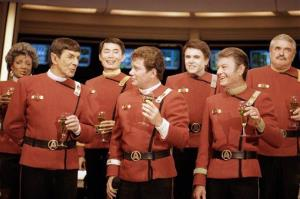 This Dec. 28, 1988, file photo shows members of the Star Trek crew, from left, Nichelle Nichols, Leonard Nimoy, George Takei,  William Shatner, Walter Koenig,  DeForest Kelley and James Doohan.