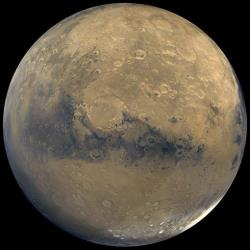 A view of Mars that was stitched together by images taken by NASA's Viking Orbiter spacecraft.